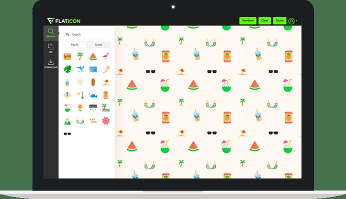 widok strony z ikonami flaticon