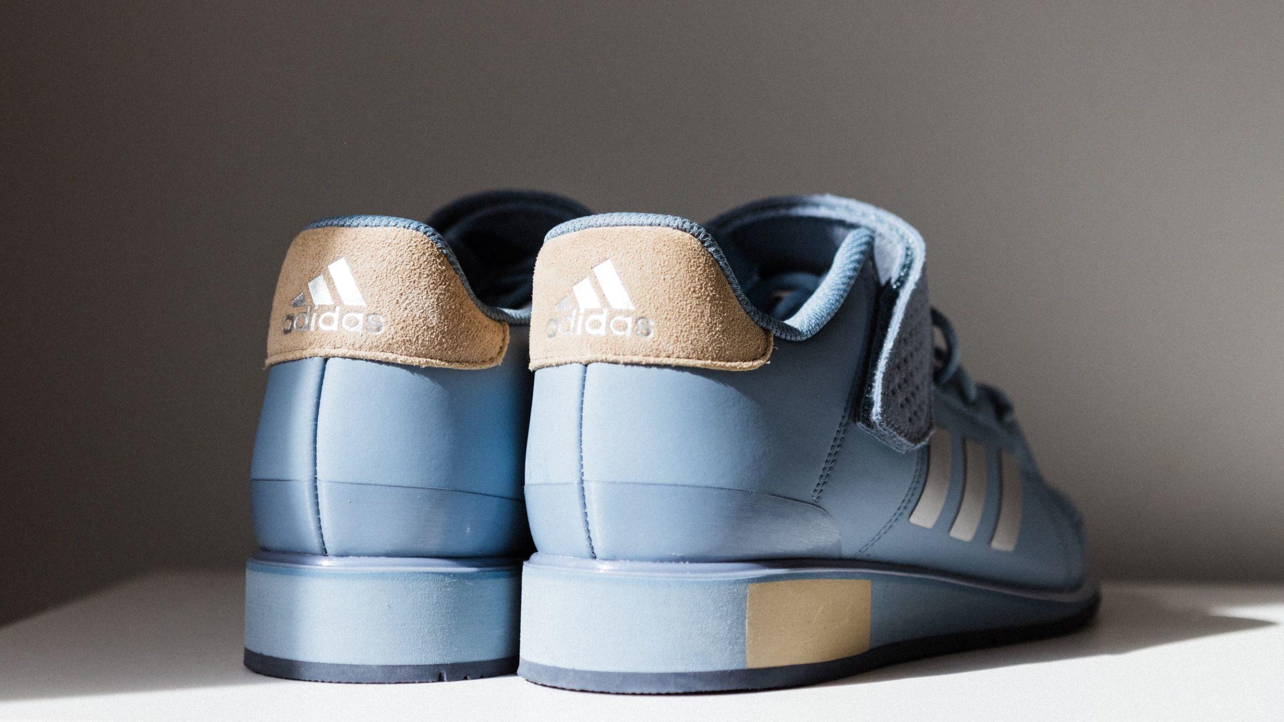 para niebieskich adidasów sfotografowana od tyłu