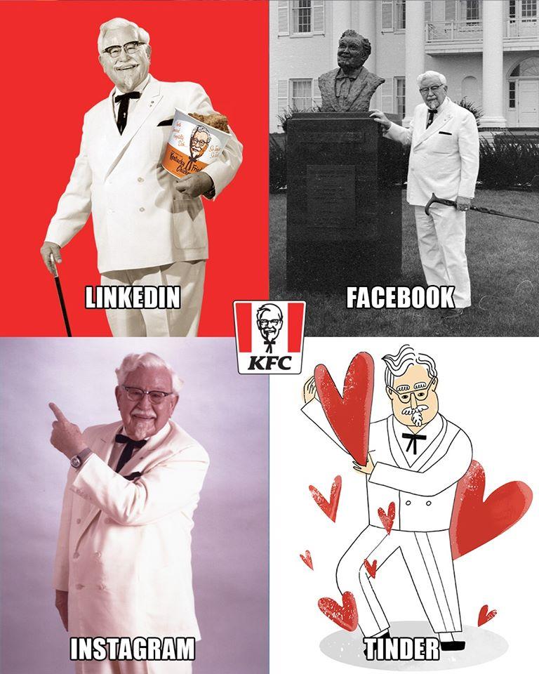 kolaż 4 zdjęć KFC