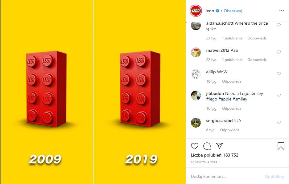 dwa klocki lego z 2009 i 2019 roku