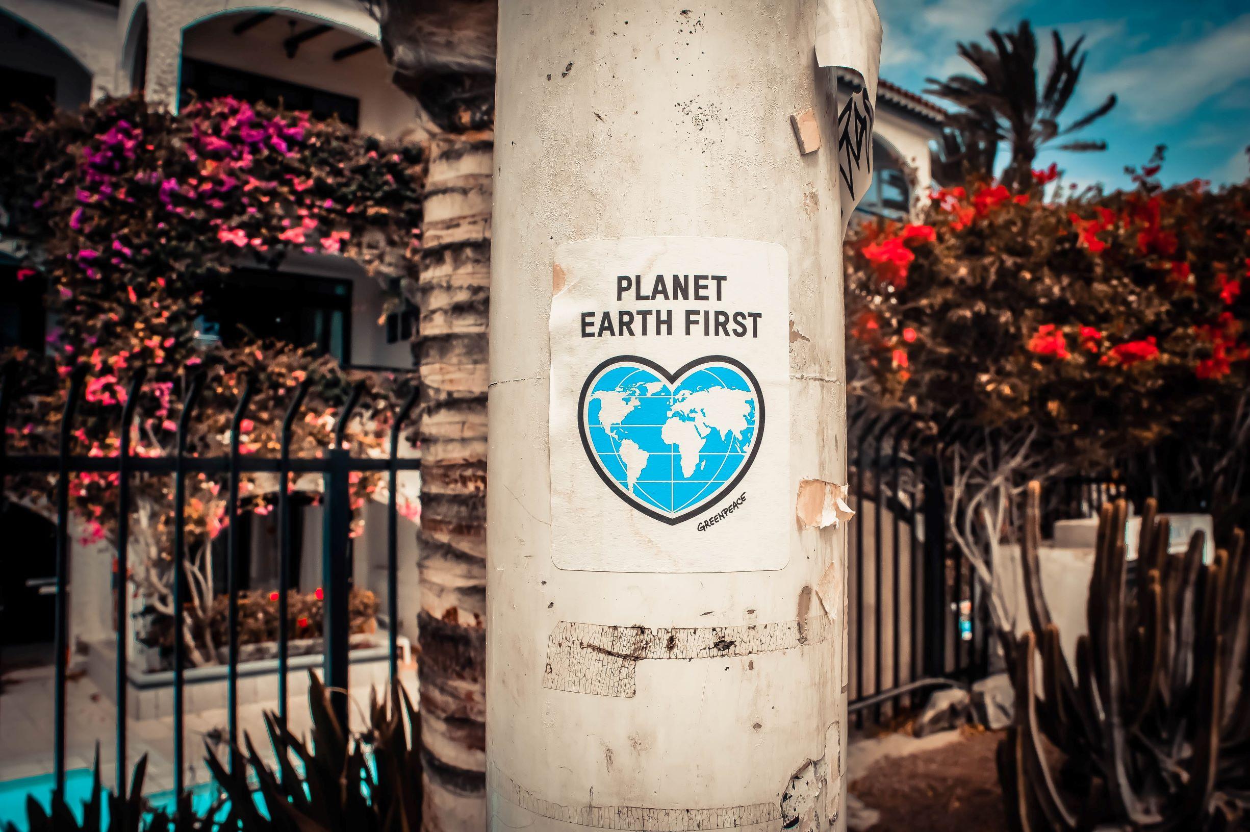 w centralnym punkcie słup ogłoszeniowy a na nim biały plakat z napisem platen earth first i mapą świata wpisaną w serce