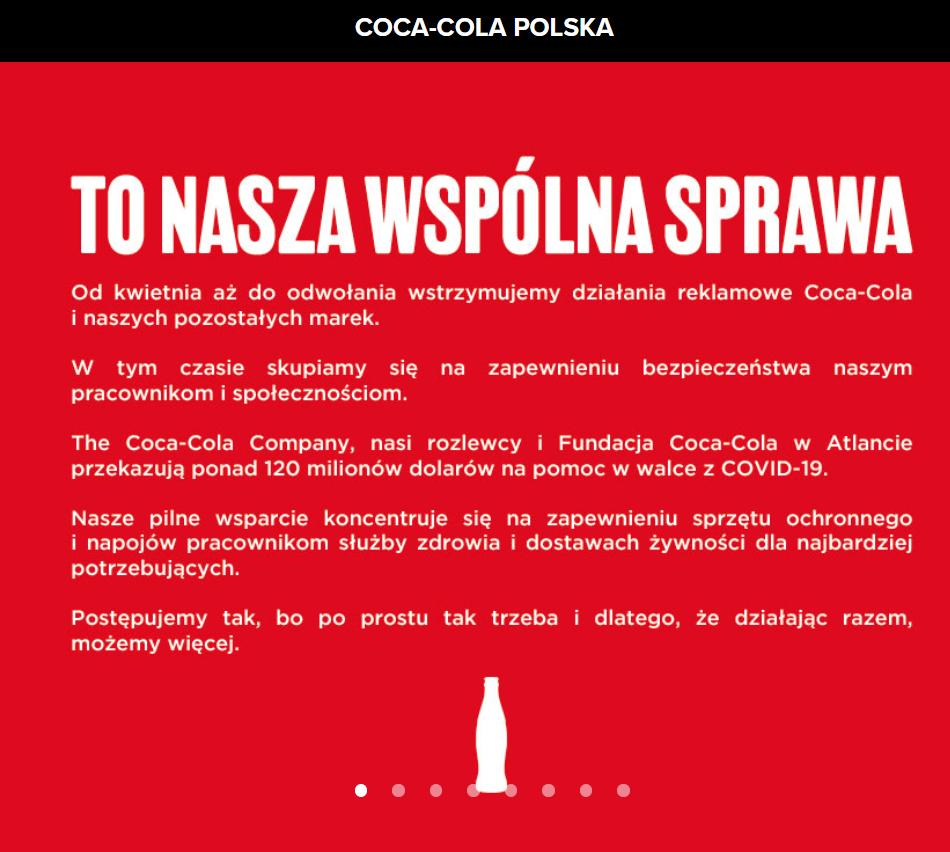 oświadczenie coca cola, biały napis na czerwonym tle, tytuł: to nasza wspólna sprawa