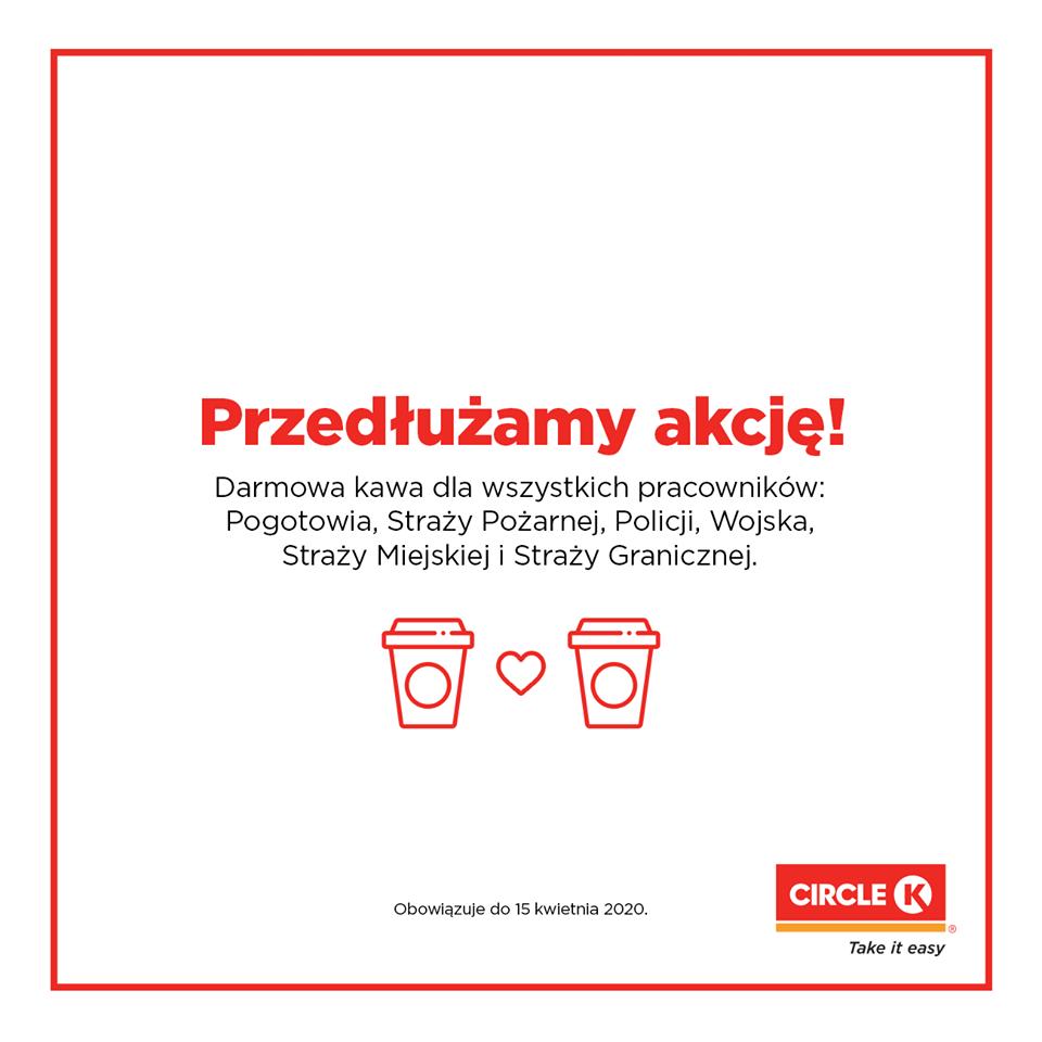 grafika reklamująca bezpłatną kawę od circle K
